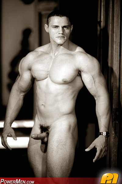 Nude male bodybuilder